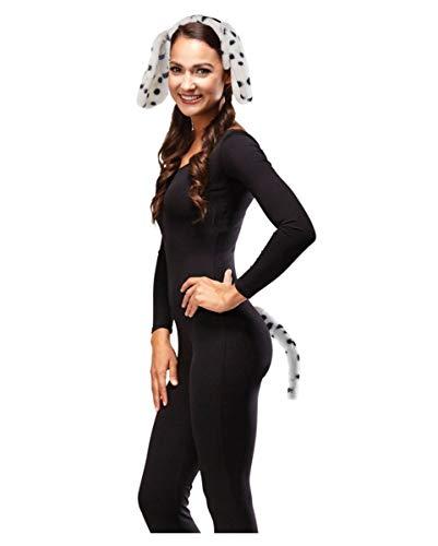 Horror-Shop Dalmatiner Kostüm Set schwarz/weiß Ohren & Schwanz für Fasching Damenkostüm One Size