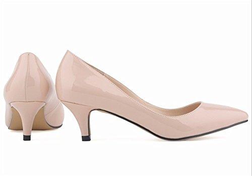 Wealsex Damen Pumps High Heels Lack Stilettos spitz Schuhe Elegante Brautschuhe Beige