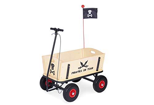 Pinolino Bollerwagen Pirat Jack mit Bremse, aus massivem Holz, Oberteile komplett abnehmbar, Tragfähigkeit 80 kg, für Kinder ab 2 Jahren