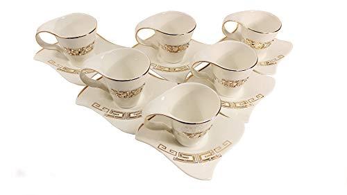 Deko-König 12-teiliges Kaffeeservice aus Porzellan mit Strasssteinen und Goldener Mäander Verzierung 6X Tassen 6X Unterteller