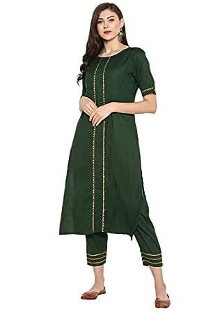 Janasya Women's Green Rayon Gotta Lace Straight Kurta With Narrow Pant (SET048-KR-NP-X-Small)
