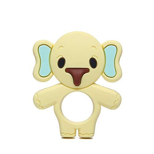 FairOnly Beißringe für Babys Silikon-Greiflinge für Jungen, leicht zu halten, weich, biegsam, hochwirksamer Beißring für Elefanten, am besten für Gefriergeräte geeignet Gelb Spielzeug Geschenk