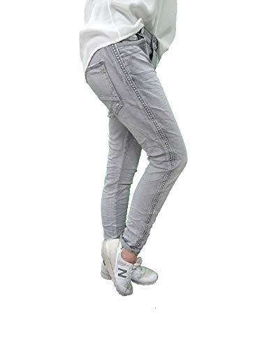 Karostar Stretch Baggy Boyfriend Jeans Nieten Seitenstreifen (XL-42, Denim Grey)