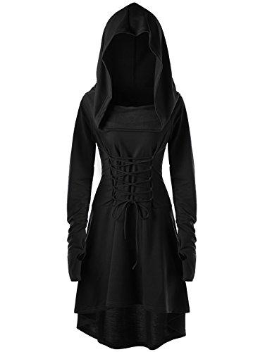 Gemijacka Vestido De Sudadera con Capucha Larga Baja con Capucha De Las Mujeres Sudadera con Capucha De La Vendimia Sudadera con Capucha