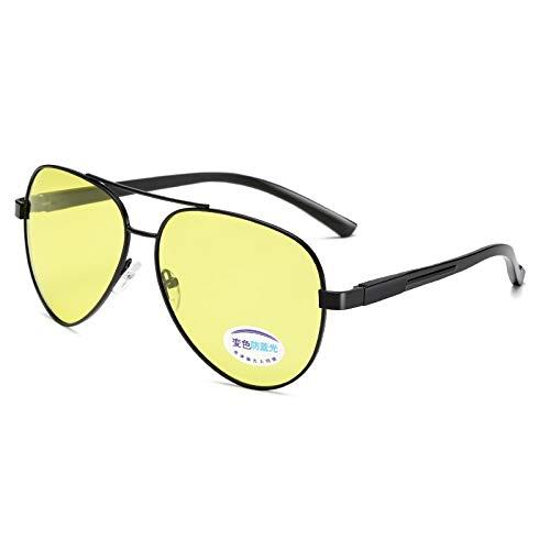 DXXHMJY Sonnenbrillen Sonnenbrille Oval Damen Herren Nachtsicht Polarisierte Photochrome Anti-Blaulicht Chameleon Eyewear Uv400 Fahrbrille Persönliche High-End-Sonnenbrille8361Black Frame