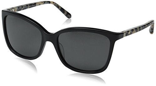 Kate Spade Women's Kasie/P/S Polarized Square Sunglasses, Black Havana/Gray, 55 mm
