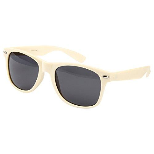 Ciffre Ciffre Sonnenbrille Nerdbrille Nerd Retro Look Brille Pilotenbrille Vintage Look - ca. 80 verschiedene Modelle Beige creme