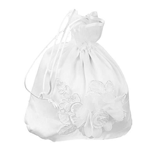 Divistar - borsa per bambole da sposa, damigella d'onore, in raso decorato con fiori, colore: bianco panna