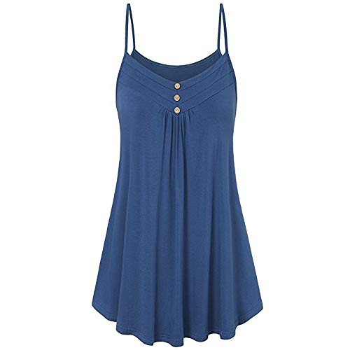 Braun Cami Tank Top (IMJONO Women Summer Loose Button V Neck Cami Tank Tops Vest Blouse(XXXX-Large,Zi-Blau))
