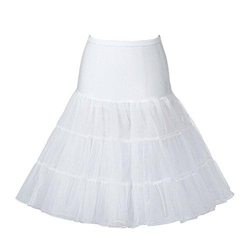 Buttereme 50er Vintage Retro Reifrock Unterrock Petticoat für Abendkleid Brautkleid Partykleid Rockabilly Kleid (Schwarz,M) Weiß