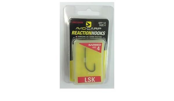 Avid Carp Reaction Hooks LSK Size 8 Qty 12 Barbless