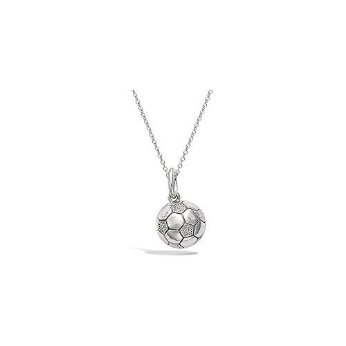 Ciondolo, in argento rodiato 925/000-Pallone da calcio, motivo: Football