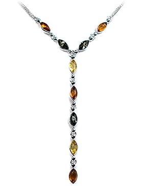 Mehrfarbiger Bernstein Sterling Silber Marquiseschliff Tropfenform Halskette 46 cm