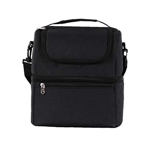 XKJFZ Oxford Bag Lunch Bag Lunch Isoliert Leakproof Zubereitung Doppeltür Mittagessen Picknick Kühltasche Schwarze Schicht -