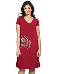 Clifton Women's Printed Long Top Night Wear-Floral-4