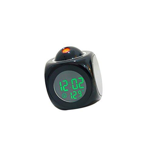 Sharplace Relojes de Proyector LED Muestra Tiempo Temperatura en Voz Alarma para Escritorio Estudio - Negro