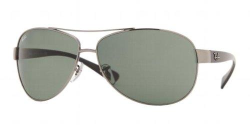 Ray-Ban Aviador Envuelva Las Gafas De Sol En Verde Gunmetal Crystal Rb3386 004/71 63