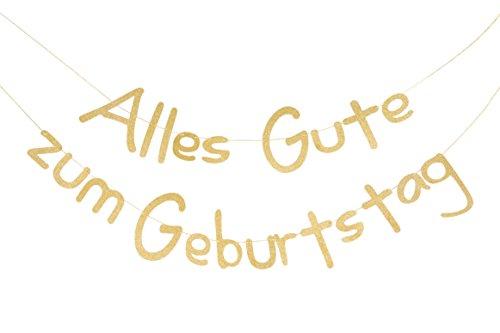 SUNBEAUTY Alles Gute zum Geburtstag Girlande Gold Glitter Texte Deutsch Happy Birthday Banner (Glitter Birthday Banner Happy)