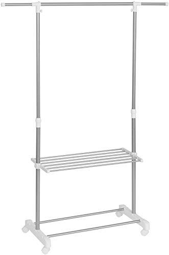 Jakob Schick Kleiderständer Stabil Garderobenständer auf 4 Rollen Einfache Montage ohne Spezial Werkzeug Verstellbare Ablagen Masse B x H: 142 cm x 165 cm