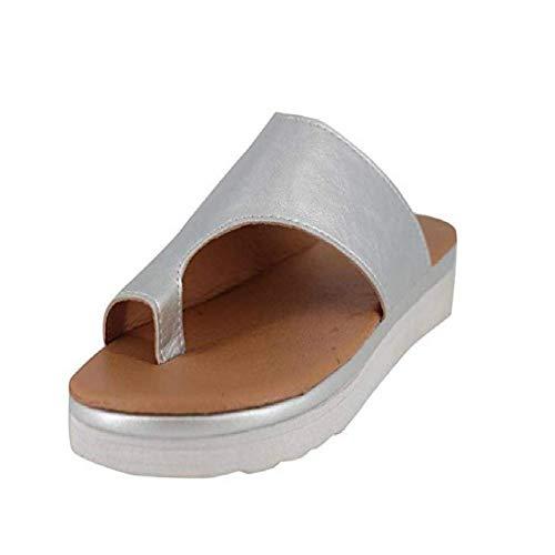 Vertvie Damen Sandalen Bequeme Plattform Pantoletten Zehentrenner Hausschuhe Sommer Strand Reise Schuhe Flach Flip Flops(40 EU, Silber)