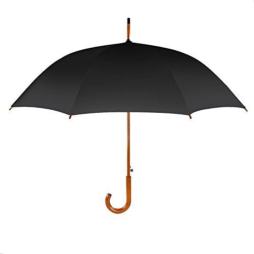 Hometek 42 Inch Classic Wooden Stick Umbrella Long wooden middle rod wind resistant Classic Men's Umbrella