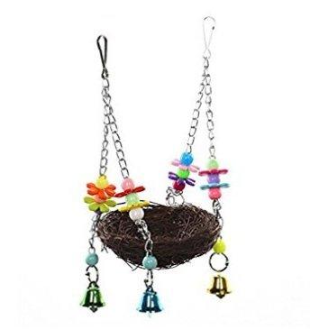 DASUKE Rattan Natur Nest-Schaukel Spielzeug mit Glocke für Parrot Sittiche Nymphensittiche Sittiche Unzertrennliche Finch Aras Kakadus African Greys Käfig Sitzstange Ständer (Sittich Käfig Auf Ständer)