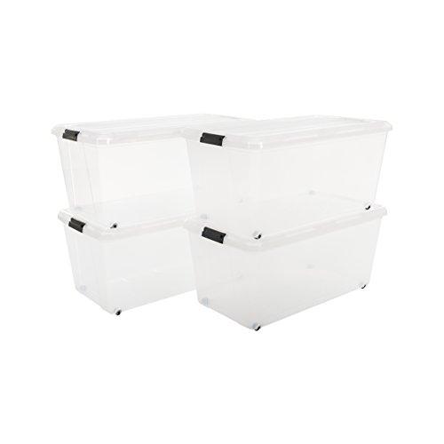 Iris, 4er-Set stapelbare Rollerboxen/Aufbewahrungsboxen 'Carry Stocker', CS-420, mit 4 Rollen, Plastik, transparent, 70 L, 71,5 x 39 x 32,5 cm (Iris Rollen)