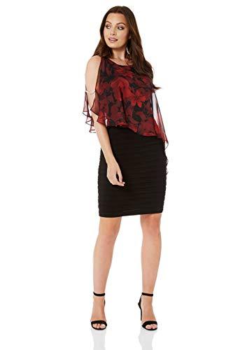 Roman Originals Damen Chiffon-Overlay-Kleid mit Rosen-Print - runder Ausschnitt mit Schulter-Cut-Outs, Knielang, Figurbetonter Schnitt, Cocktails, zum Ausgehen, Party - Rot - Größe 40 -