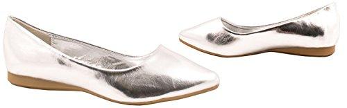 Classique Femmes Ballerines basic Flats D'été Chaussures Silber