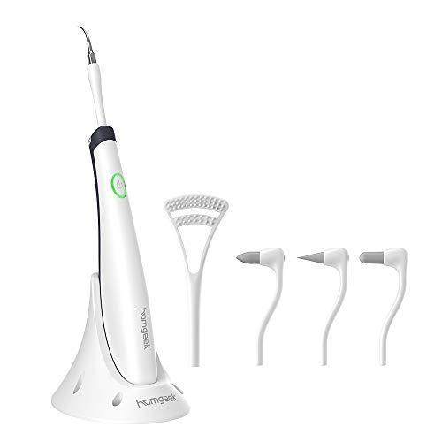 homgeek Limpieza Dental Kit, Eliminar Sarro Dental, 12,000 Vibraciones, 5 Cabezas Repuestas, Tecnologia Ultrasónica, Blanqueamiento de Dientes, Eliminar la Placa y las Manchas Dentales