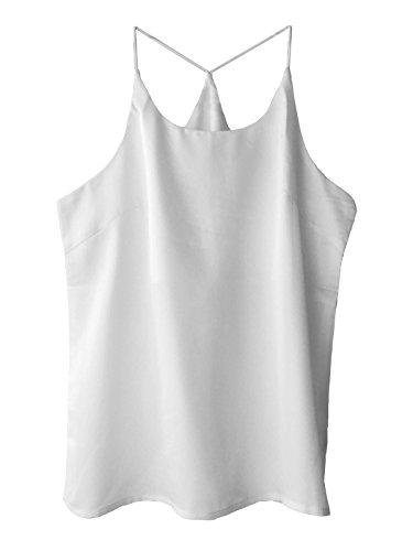 Wantschun Womens Silk Satin Camisole Cami Plain Strappy Vest Top Sleeveless Blouse Tank Shirt
