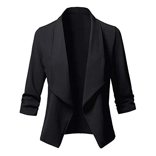 Vertvie Damen Elegante Business Blazer Jacke Kleine Anzug Wild Fashion Solid Color Langärmelige Revers Casual(Schwarz, L)