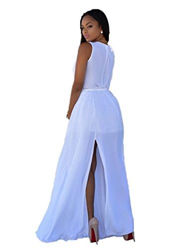 Blansdi Femmes Col V Profond Sans Manches Maxi Jupe Bandage Mousseline de Soie Zipper Slit Cocktail Robe Longue Blanc
