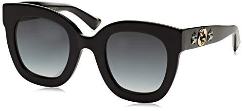 Gucci Damen GG0208S 001 Sonnenbrille, Schwarz (1/Grey), 49