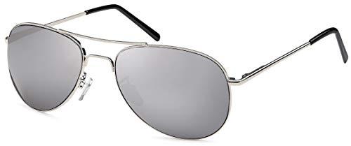 Feinzwirn Pilotenbrille Sonnenbrille für das schmale Gesicht inkl Brillenbeutel (Silber verspiegelt)