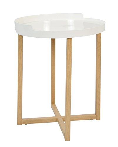 ts-ideen Design Table d'appoint Table à thé Rond Effet chêne Stockage en Blanc Table à café Table de Chevet