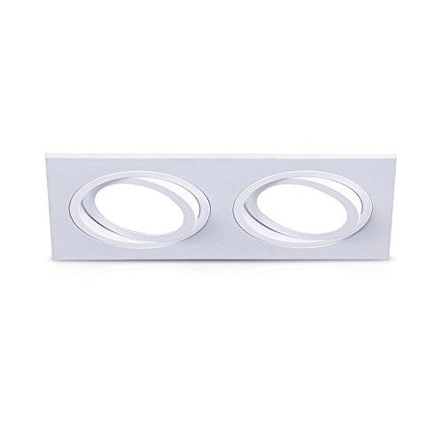 Vision-EL 777171soporte de foco redondo doble AR111+ ES111, aluminio, color blanco, (H...
