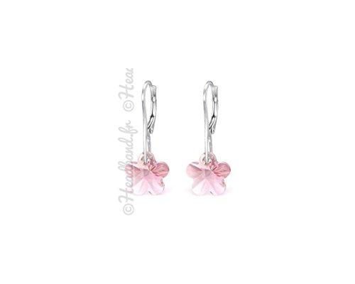 Orecchini cristallo fiore swarovski rosa chiaro