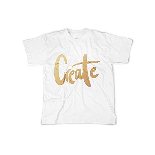 licaso Herren T-Shirt mit Create Gold Aufdruck in White Gr. XS Bling Diamant Design Jungs Top Männer Shirt Herren Basic 100% Baumwolle Kurzarm -