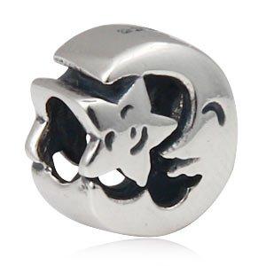 Smiling Mond und Stern Charm Bead 925Sterling Silber Passend für Pandora Charme Armband