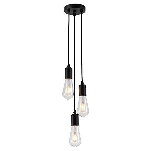Splink Moderne Lampe Suspension 3 Douille E27 Lampe Suspendue DIY pour Maison , Bar , Restaurants, Café, Club - Noir