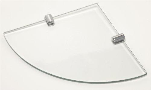 Mensola angolare con supporti, in vetro temperato, per bagno, camera o ufficio, con finitura cromata, 180 mm, spessore 6 mm