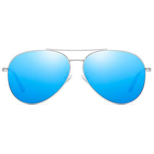 Trend Blau/Braun/Silber/Pink Herren-Sonnenbrille mit Farbfilm und UV400-Sonnenbrille aus polarisiertem Metall Brille (Farbe : Blue)