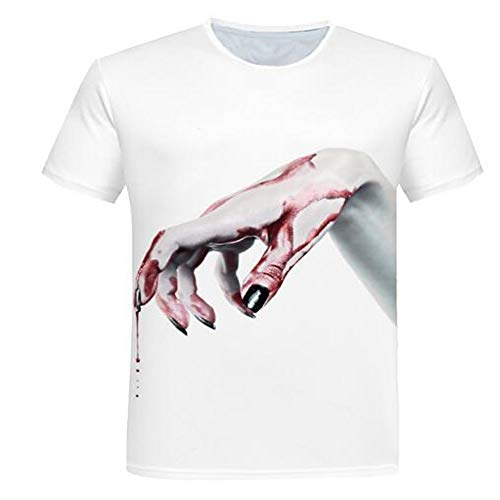 Sommer Kurzarm T-Shirts Top T-Shirt Bluse Casual Slim Sport T-Shirt Männer Jungen T-Shirt Top,Lässiger 3D Cartoon Print - E Weiß 2XL