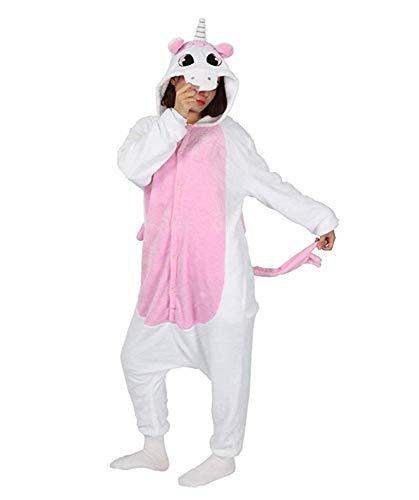 Rosa Zebra Kostüm - Warmes Unisex-Karnevals-Kostüm für Kinder, Einhorn Eule Zebra Giraffe Kuh, für Halloween Fest Party, als Pyjama, Tier-Kigurumi-Kostüm für Zoo-Cosplay, Einteiler - Small - Unicorn Rosa