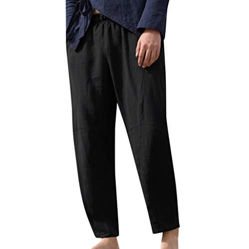 Snowbuff Pantaloni di Corda Pura di Canapa di Cotone Sciolto Uomo da Pantaloni Lino,Pantaloni Uomo Estivi Slim Fit Jeans Cargo Jogging Sportivi Pantalone da Ginnastica Leggings Pantaloni di Lino