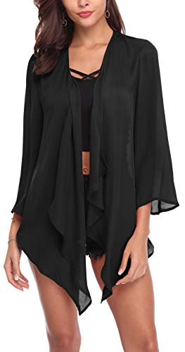SIRUITON Chiffon Cardigan Damen Casual Blousen Elegant Festlich Shirt 3/4 Bell Sleeve Sheer Lightweight Open Front Top, XX-Large(DE48), Schwarz (Schwarz Sleeve Shirt 3/4)