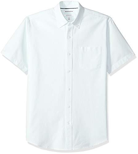 Amazon Essentials Regular-Fit Short-Sleeve Stripe Pocket Oxford Shirt Freizeithemd, Blau (Aqua AQU), US L (EU L) -