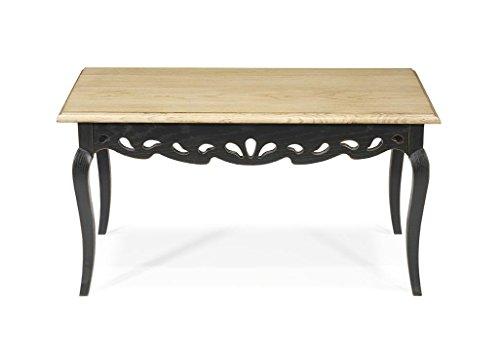 Macazba Table Basse Hortense - 100% chêne Massif - 88x50 H 45cm- Couleur Noir & Naturel patiné