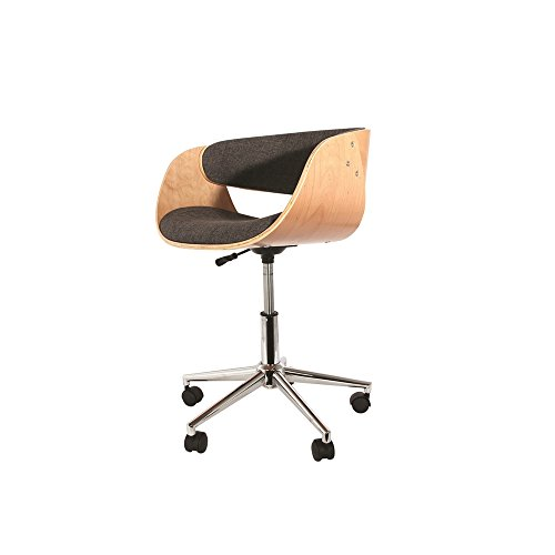 THE HOME DECO FACTORY – Silla de Escritorio Retro, Madera + poliéster, 58 x 52,5 x 56 cm